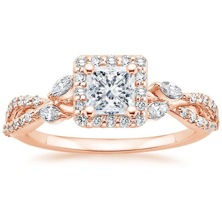 Floral Vine Halo Princess Diamond Ring Rose Gold