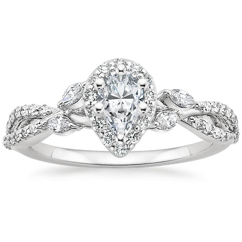 Pear Floral Vine Halo Engagement Ring