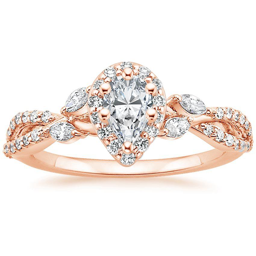 Floral Vine Halo Pear Diamond Ring Rose Gold