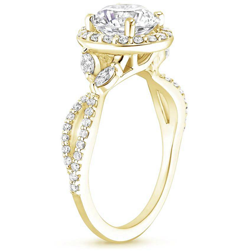 Floral Vine Halo Asscher Diamond Ring Yellow Gold