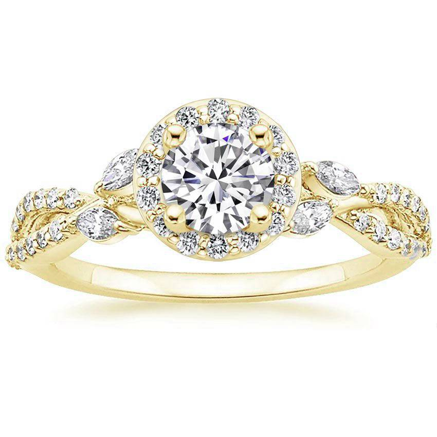 Floral Vine Halo Diamond Ring Yellow Gold