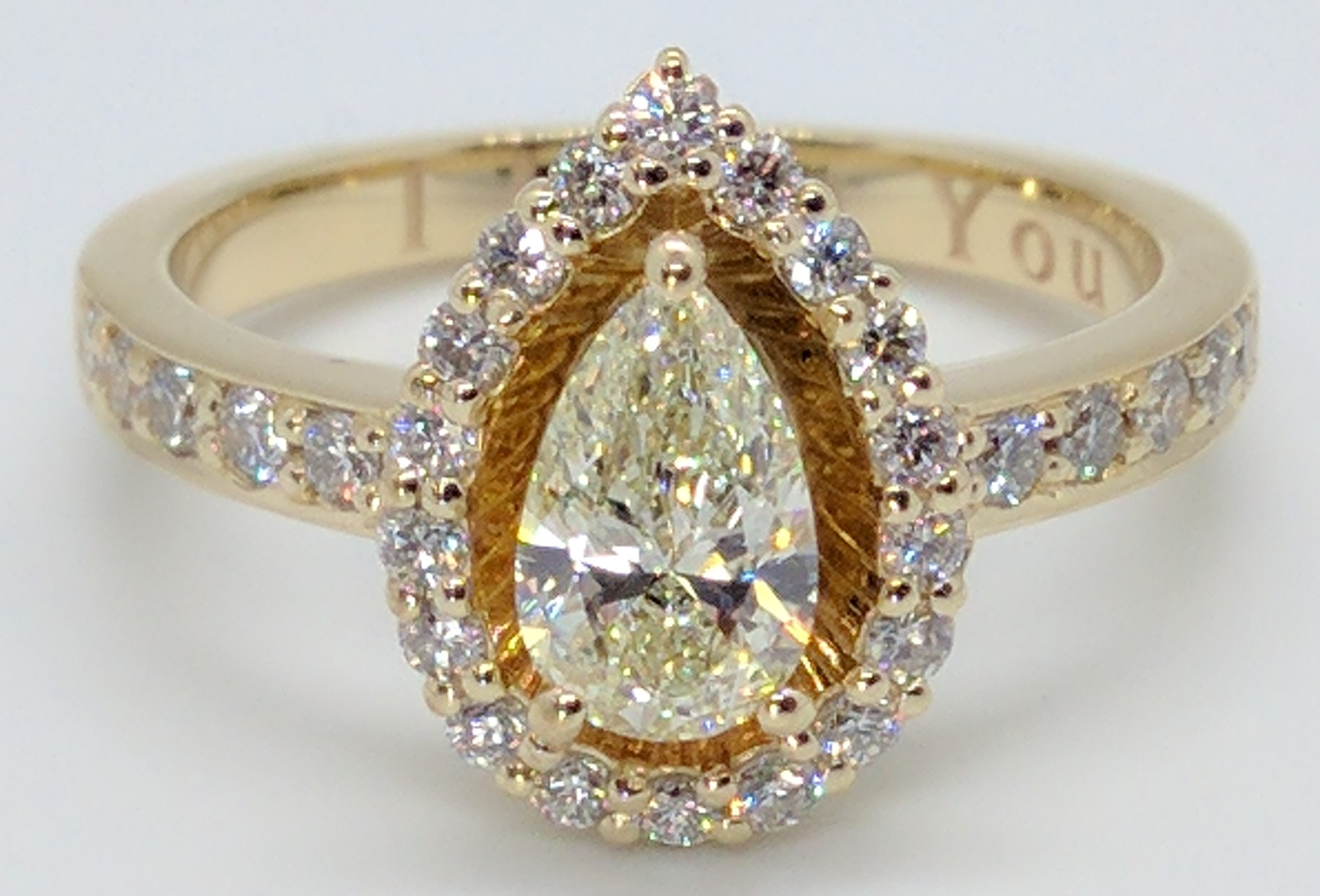 Pear Diamond Halo Yellow Gold