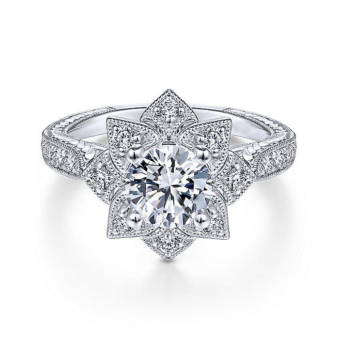 Engagement Ring Lotus Flower Diamond Halo Engraved Engagement Ring Es2500