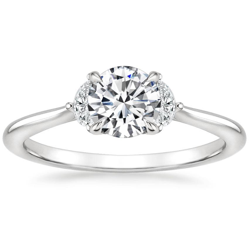 Three Stone Half Moon Diamond Engagement Ring