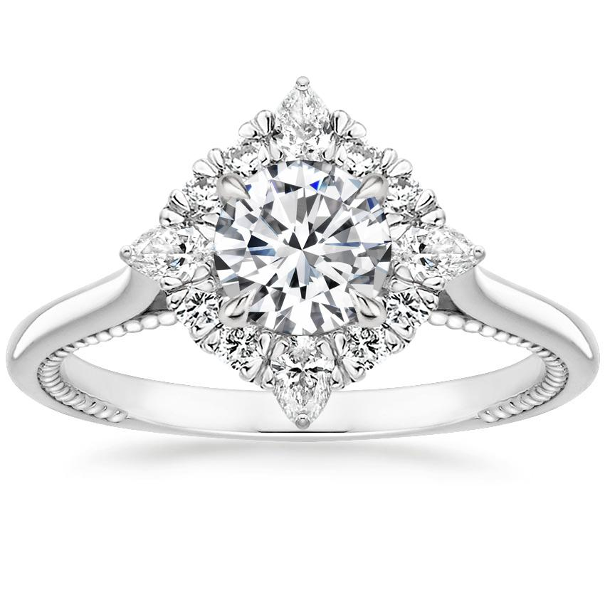 Floral Diamond Compass Halo Engagement Ring