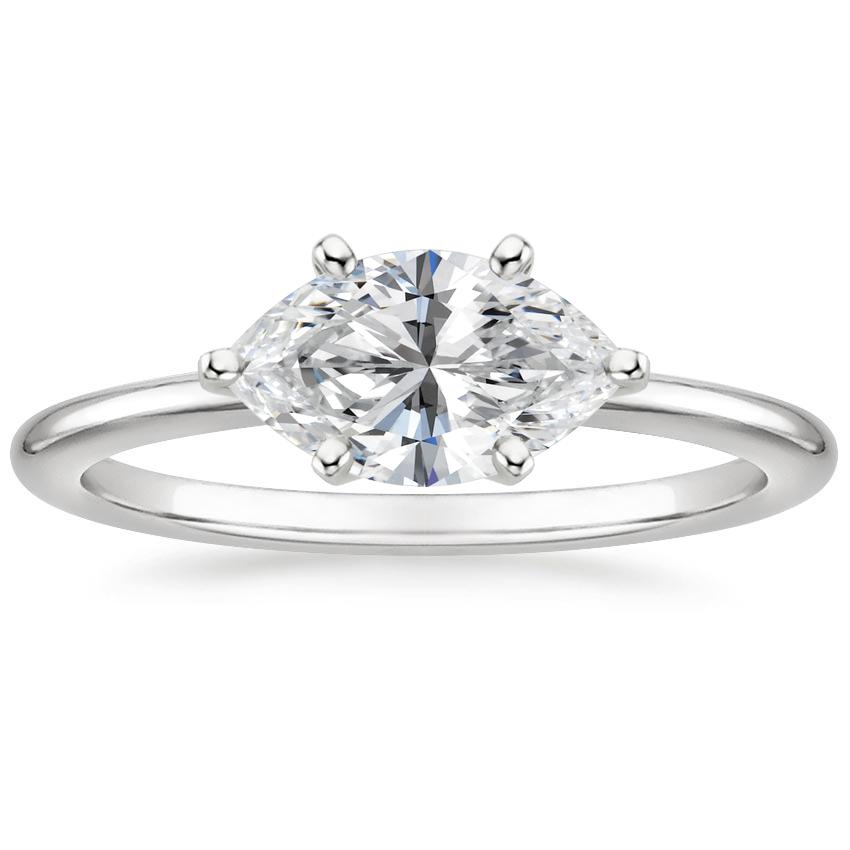 Horizontal Marquise Diamond Solitaire Engagement Ring