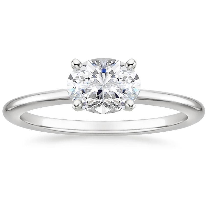Horizontal Oval Diamond Solitaire Engagement Ring