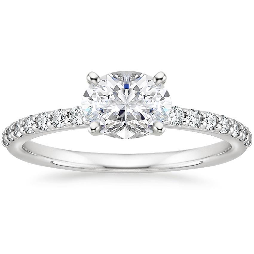 Horizontal Oval Diamond Engagement Ring