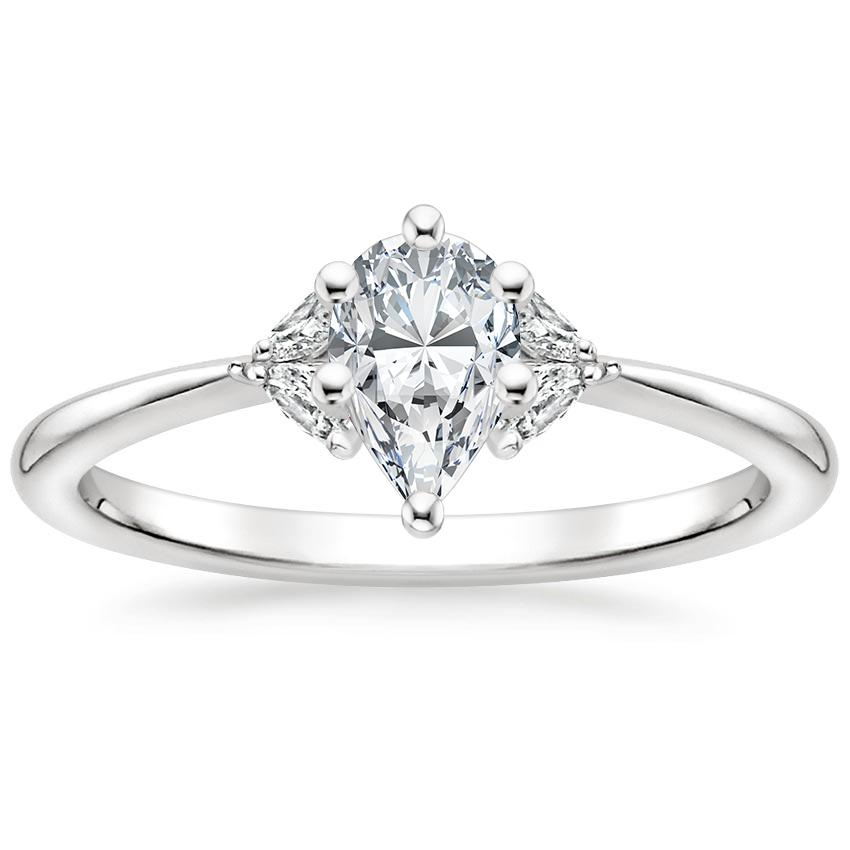 Floral Pear Diamond Engagement Ring
