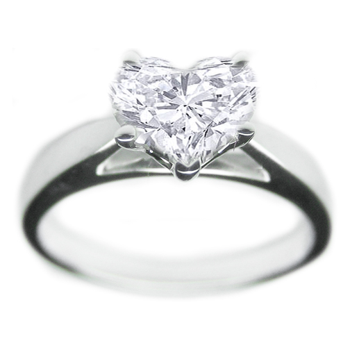 Arrow Tapered Cathedral Heart Shape Engagement Ring