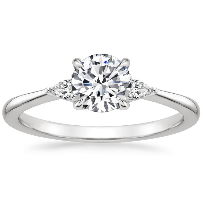 Petite 3 Stone Pear Diamond Engagement Ring