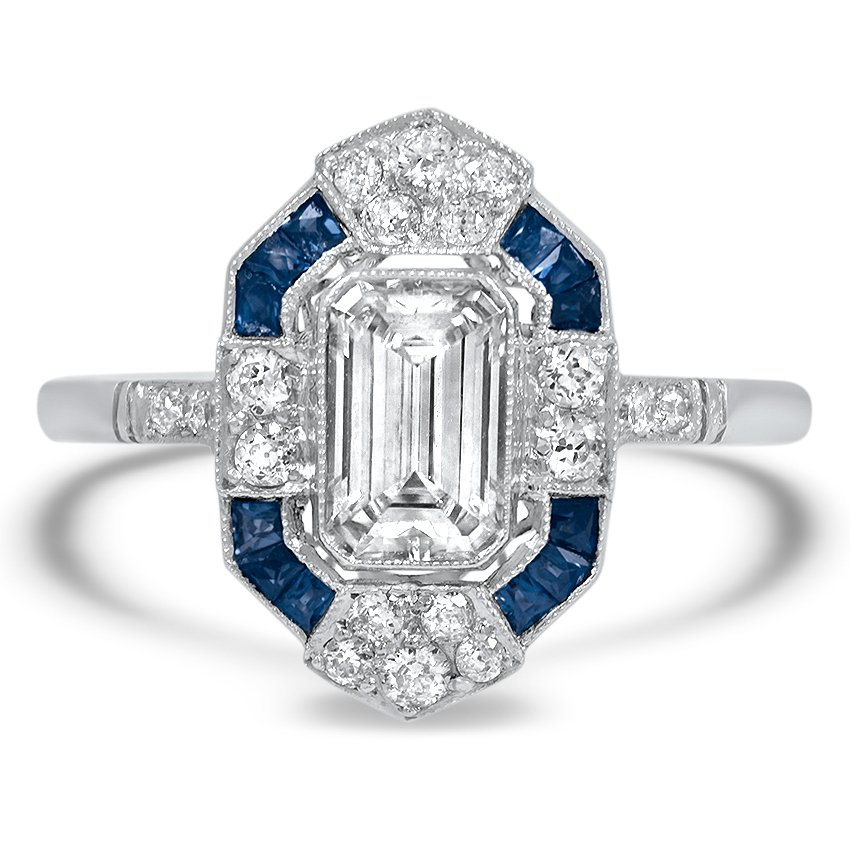 Art Deco Emerald Diamond Blue Sapphire Ring
