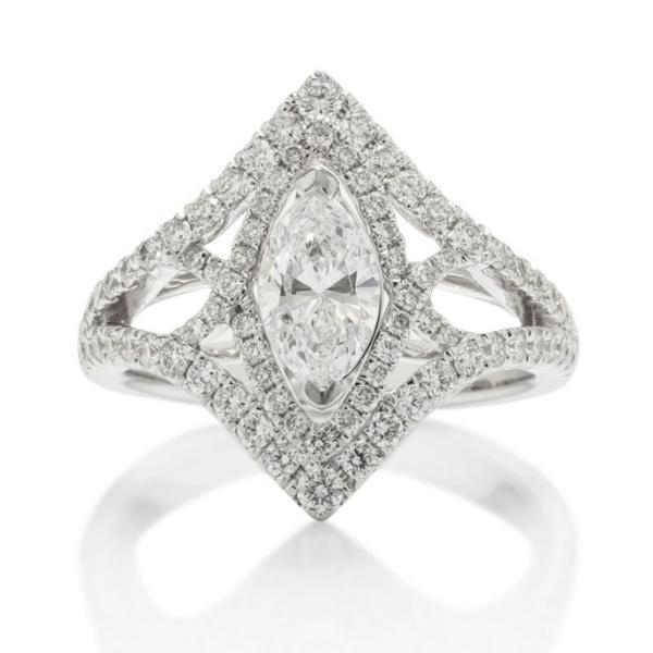Intertwined Marquise Halo Engagement Ring