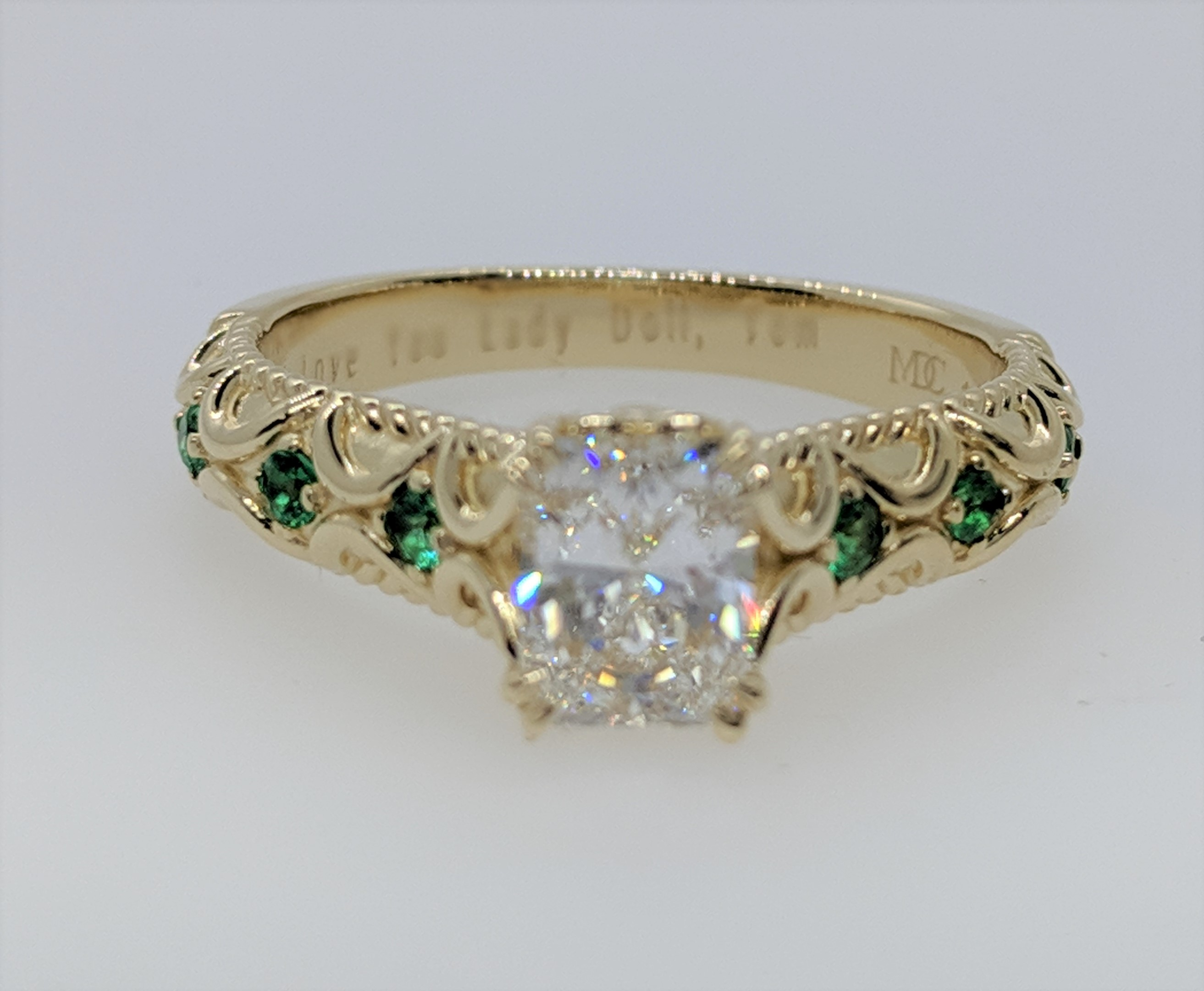 Radiant Butterfly Engagement Ring Green Emerald