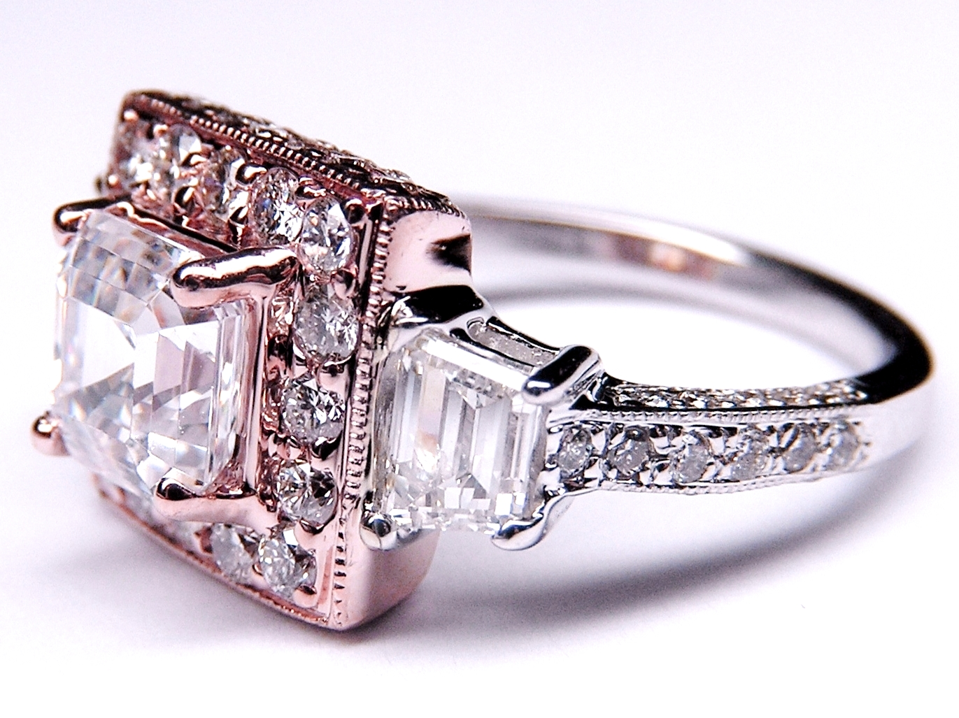 Engagement Ring Cher Cut Diamond Heirloom Halo