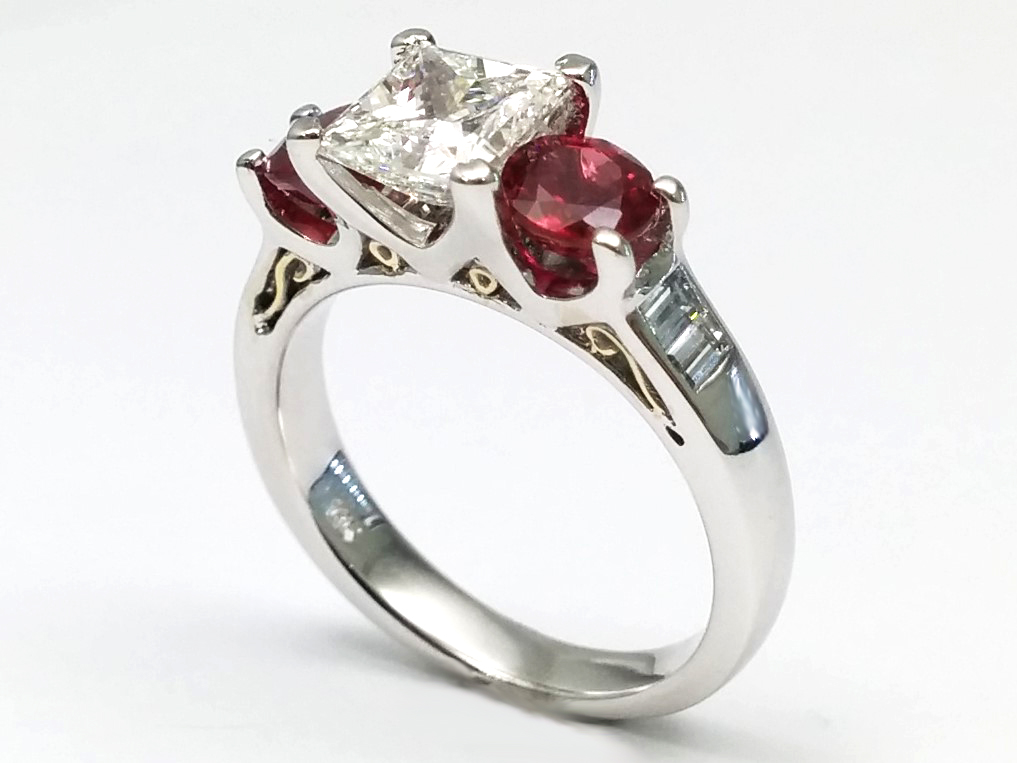 Handcrafted Two-Tone White Gold & Yellow Gold Diamond and Ruby Engagement Ring Setting 0.70 tcw.