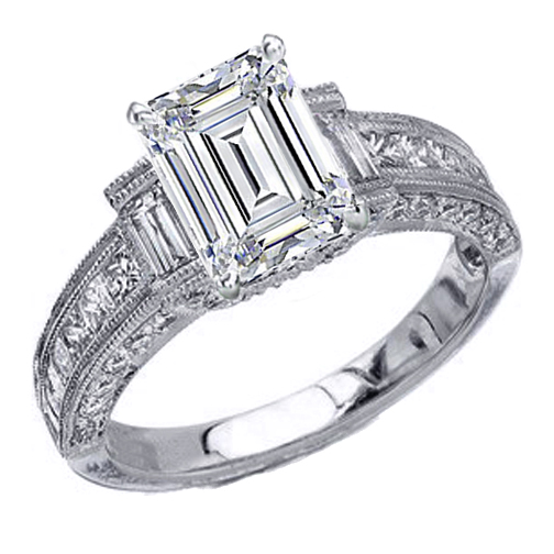 Engagement Ring -Vintage Emerald Cut Diamond Engagement Ring 1.11 tcw. In  Platinum-ES258ECPL
