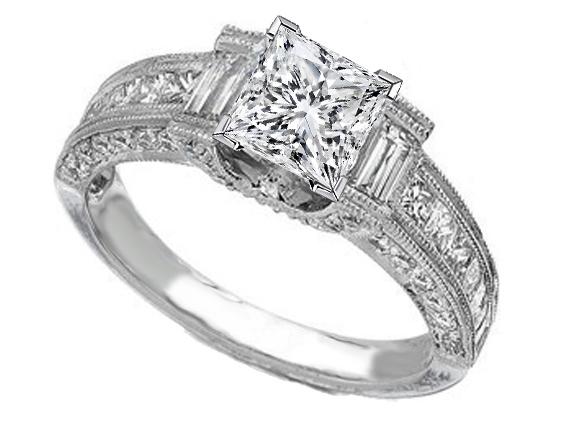 4aaea3440258c Engagement Ring -Vintage Princess Cut Diamond Engagement Ring 1 tcw.-ES258PR