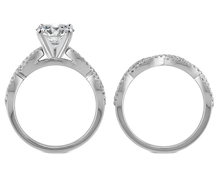 Engagement Ring -Infinity Bridal Set: Engagement Ring & Matching ...