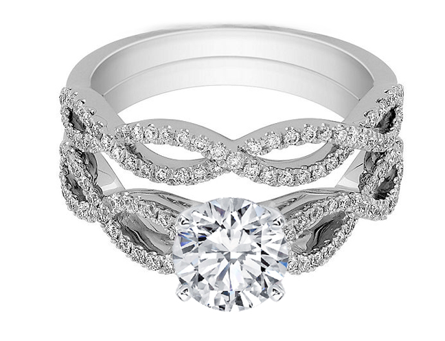 Infinity Bridal Set: Engagement Ring & Matching Wedding Ring in 14K White Gold
