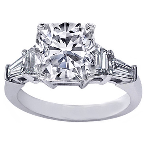 Engagement Ring Cushion Cut Diamond Engagement Ring trapezoids and baguettes