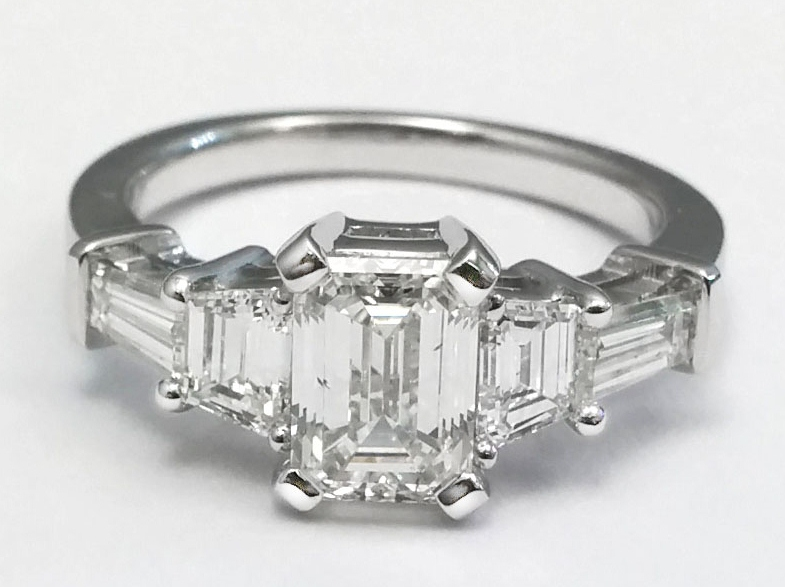 Emerald Cut Diamond Engagement Ring trapezoids and baguettes