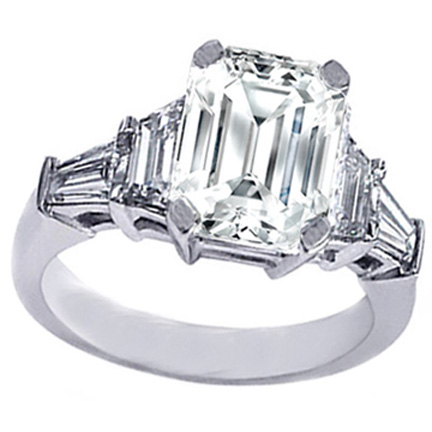 Emerald Cut diamond Engagement Ring trapezoids and baguettes 0.60 tcw.