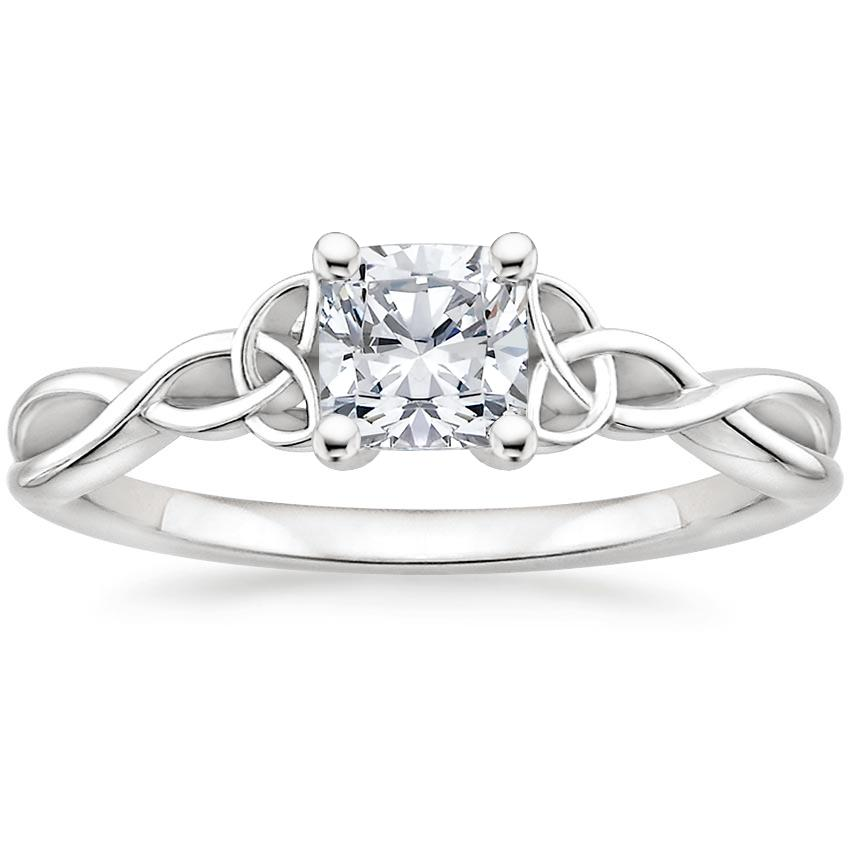 Intertwined Celtic Cushion Solitaire Ring