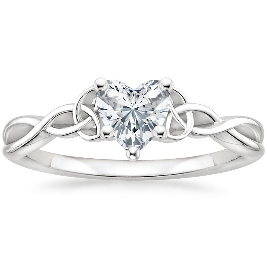 Intertwined Celtic Heart Solitaire Ring