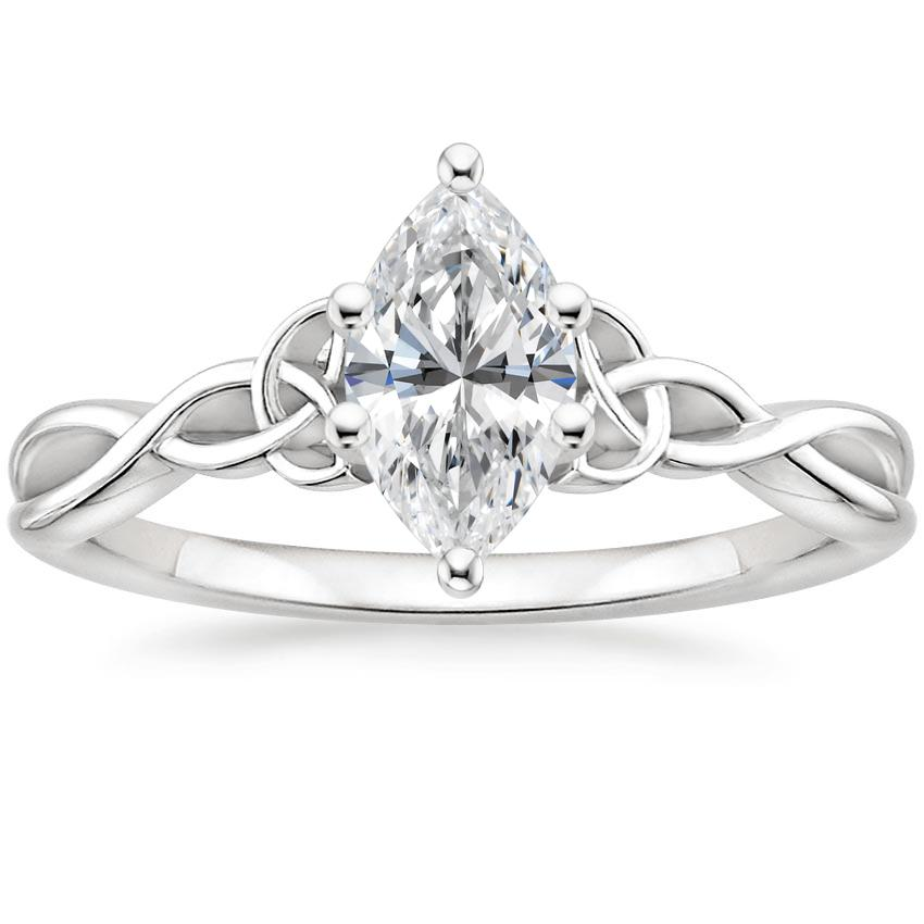 Intertwined Celtic Marquise Solitaire Ring