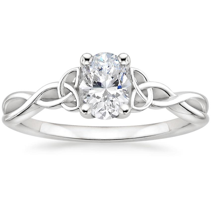 Intertwined Celtic Oval Solitaire Ring