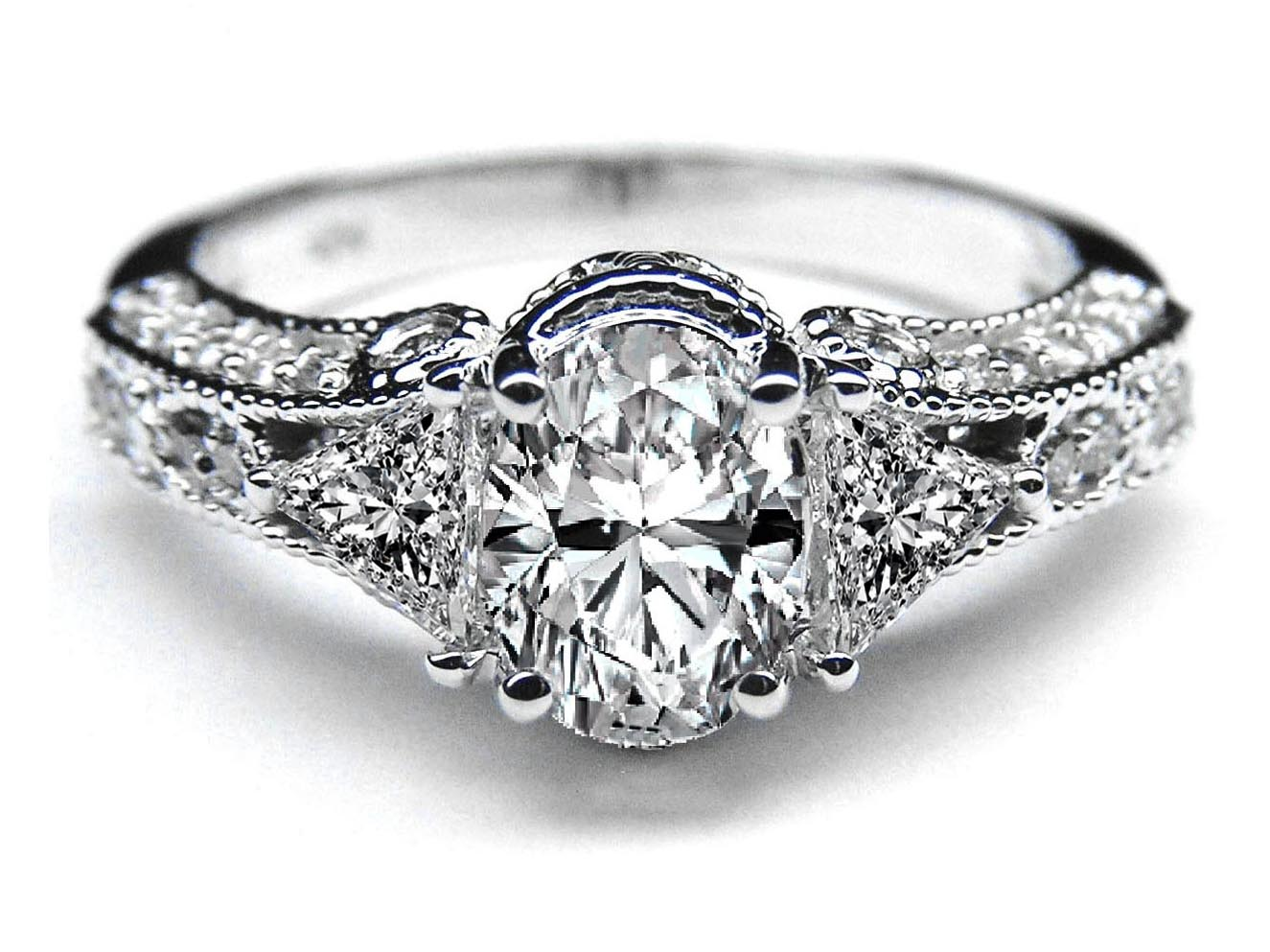 Engagement Ring Vintage Style Oval Diamond Engagement Ring 0 72 tcw In Whit