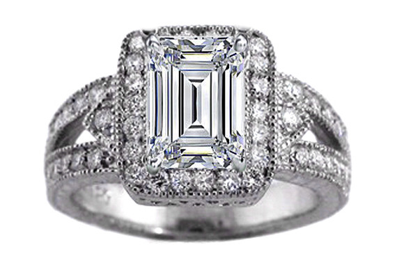 Vintage Emerald Cut Diamond Engagement Ring in 14K White Gold 0.68 tcw