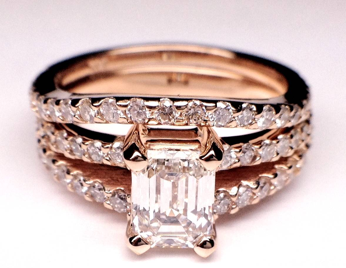 Engagement Ring Pink Gold Emerald Cut Diamond Split Band Engagement