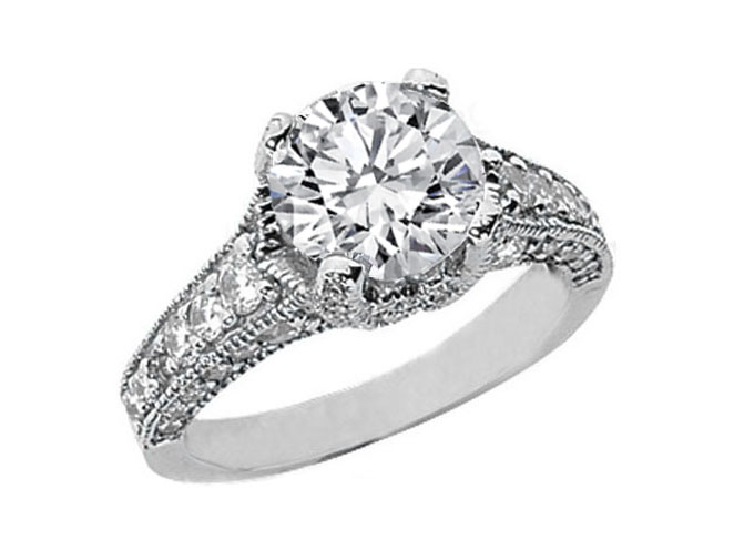 Round Diamond Vintage Style Engagement Ring Setting in 14K White Gold 0.67 tcw.