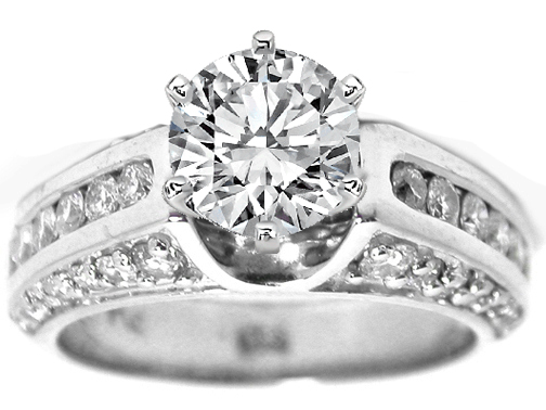 Diamond Engagement Ring Setting trio diamond band 0.71 tcw.