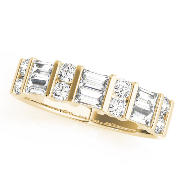 Classic Baguette & Round Diamond Bridal Set in Yellow Gold