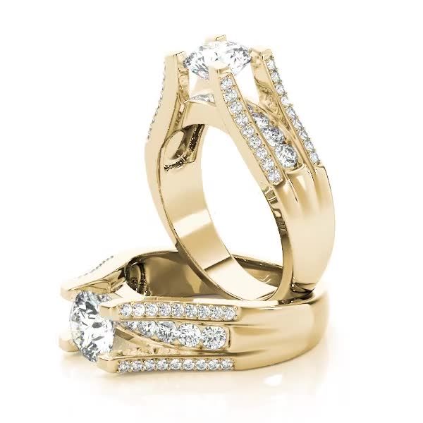 Vintage Bridge Engagement Ring Yellow Gold