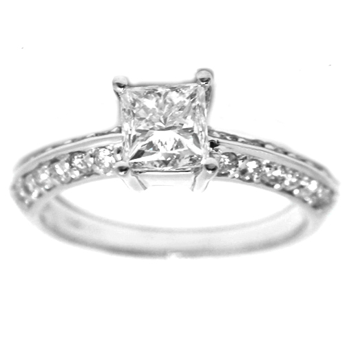 Knife Edge Cushion Diamond Engagement Ring Setting in 14K White Gold 0.40 tcw.
