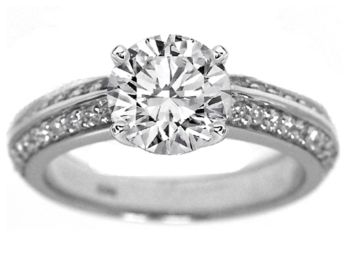 Knife Edge Round Diamond Engagement Ring Setting in 14K White Gold 0.40 tcw.