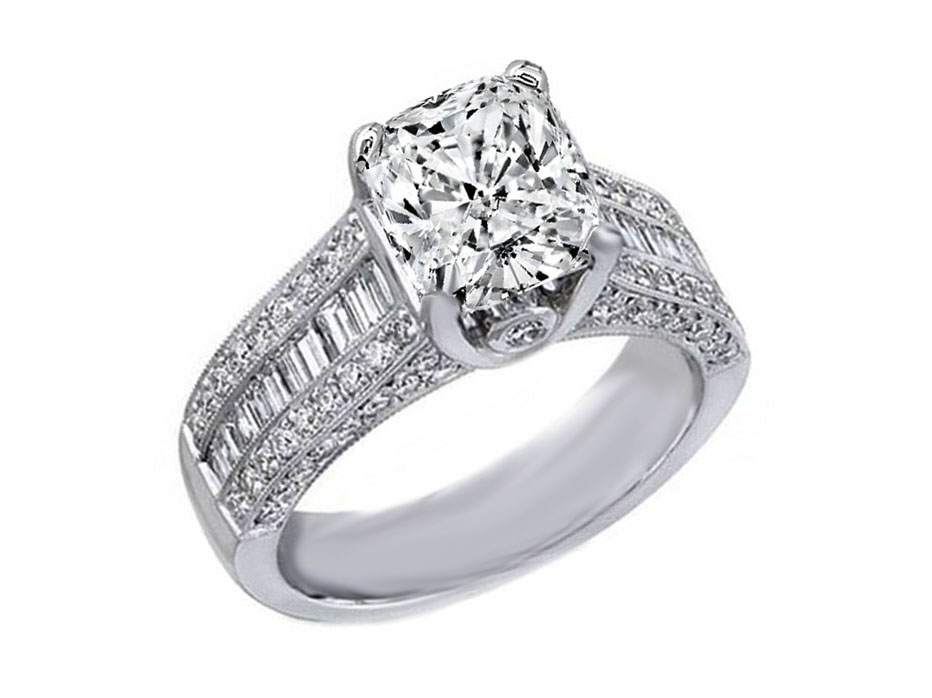 Cushion Diamond Engagement Ring Three Row Baguette & Round Diamonds 1.34 tcw.