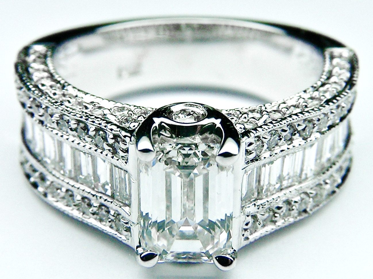 Emerald Cut Engagement Ring Three Row Baguette & Round Diamonds Heirloom 1.34 tcw.