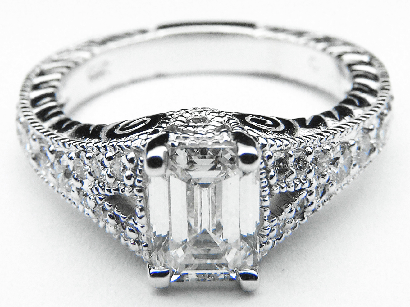 Engagement Ring Vintage Style Emerald Cut Diamond Engagement Ring Pave  Split Band In 14k White Goldes287