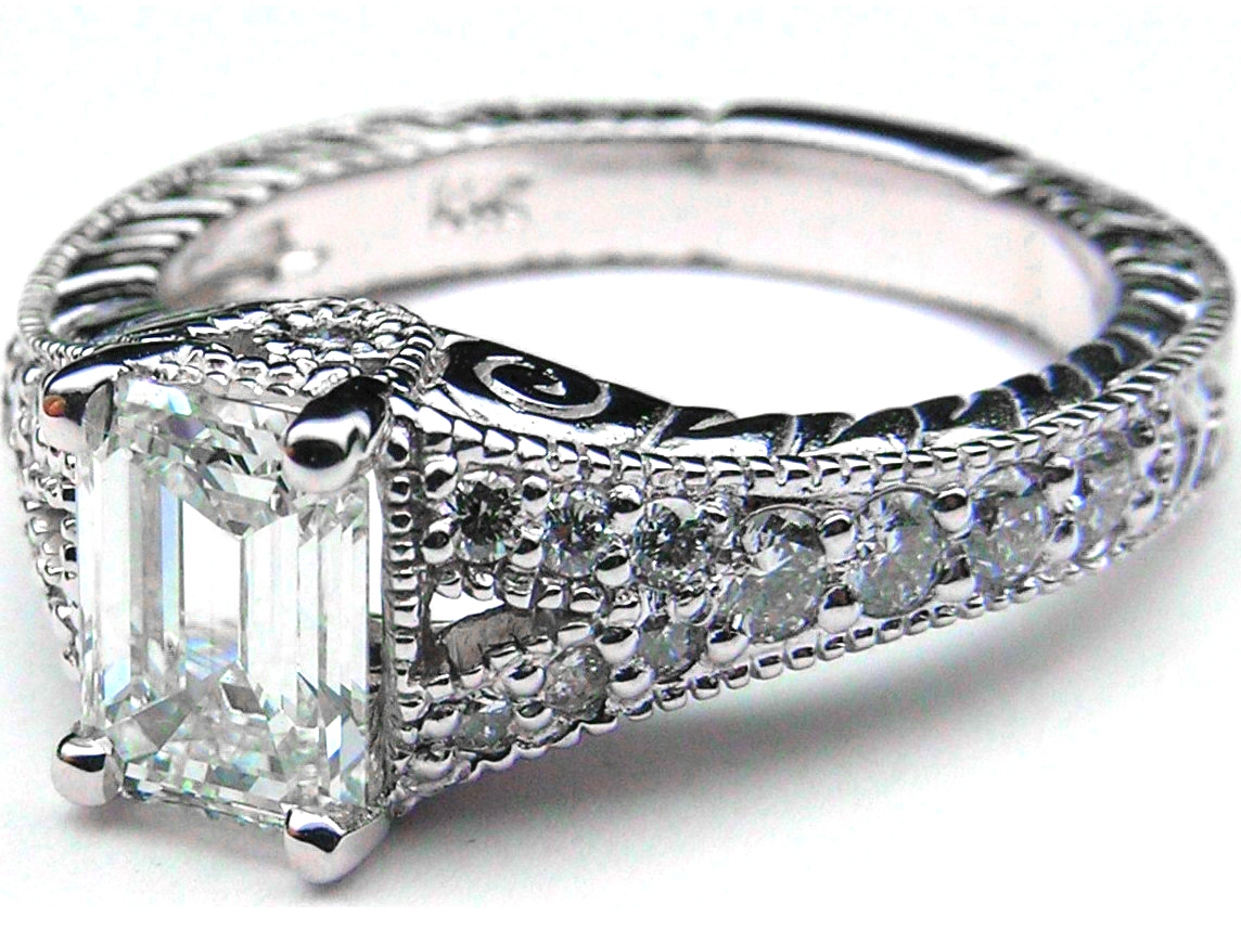 Engagement Ring Vintage Style Emerald Cut Diamond Engagement Ring Pave Split
