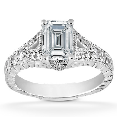 Vintage Style Emerald Cut Diamond Engagement Ring Pave Split Band In 14K White Gold