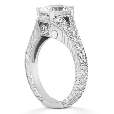 Vintage Style Oval Diamond Engagement Ring Pave Split Band In 14K White Gold