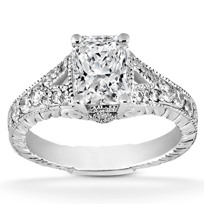 Vintage Radiant Cut Diamond Engagement Ring Pave Split Band In 14K White Gold
