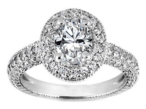 Vintage Style Oval Diamond Engagement Ring Setting Pave Set, White Gold, 0.92 tcw.