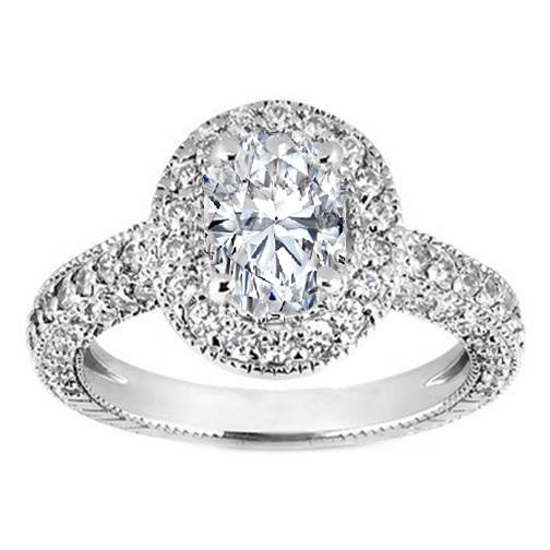 Vintage Style Oval Diamond Engagement Ring 0.88 tcw.