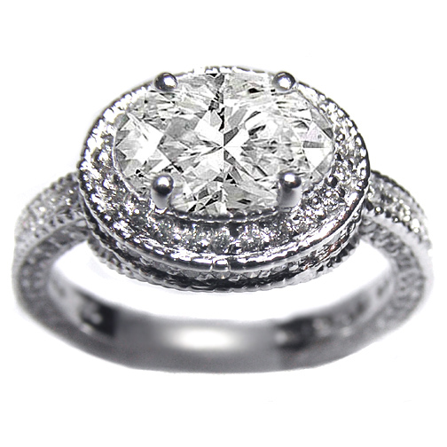 Vintage Style Horizontal Oval Diamond Engagement Ring Setting Pave-Set in 14K White Gold 0.88 tcw.